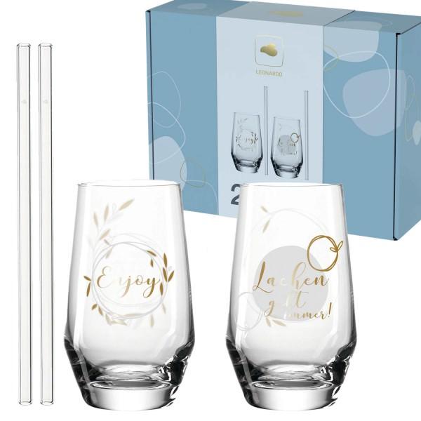 Leonardo 2x Trinkgläser + 2x Glastrinkhalme PRESENTE 365 ml Lachen