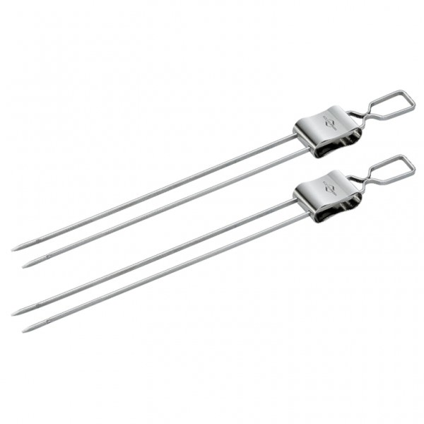 Küchenprofi 1066482802 Doppelspieße 2er Set Grillspieße mit praktischem Abstreifer Edelstahl